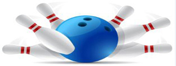 Bowling ball and pins